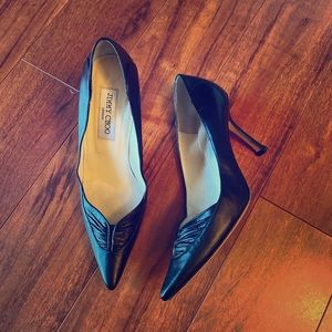 Jimmy Choo black leather pointy toe pumps